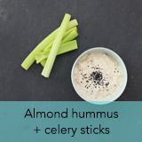 Almond hummus and celery sticks
