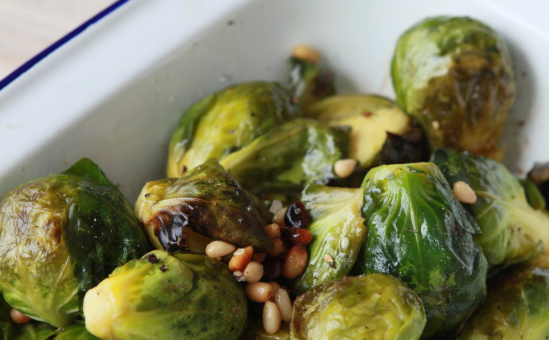 Roast Brussels Sprouts With Pine Nuts