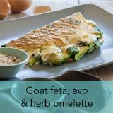 Goat feta, avo, herb omelette