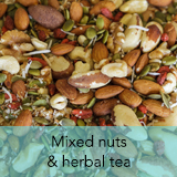 Mixed nuts and herbal tea