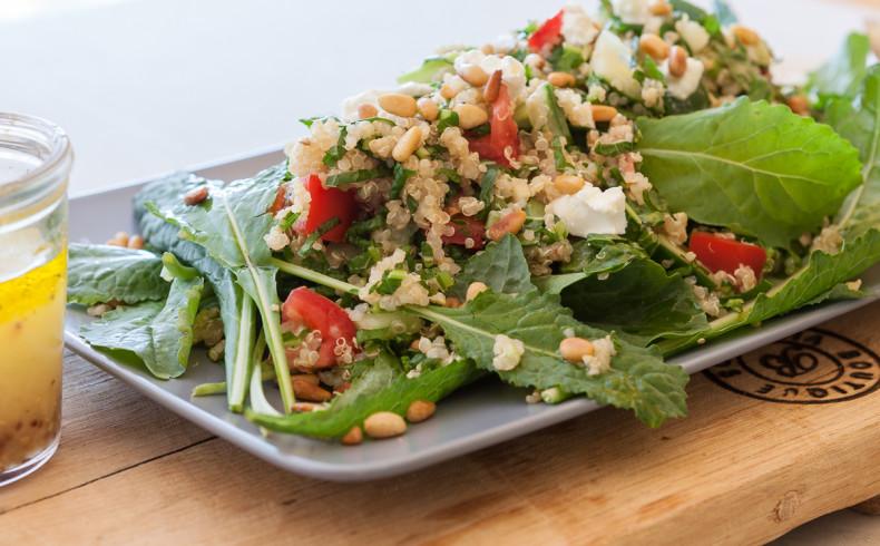 Toasted Pine Nut Quinoa & Kale Salad