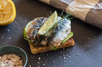 Grilled Sardines & Avocado on gluten free toast
