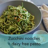 Zucchini noodles, pesto